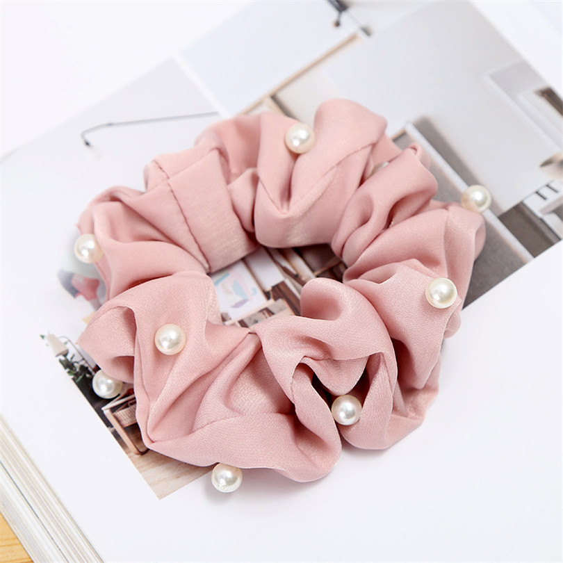 New Women Ladies Pearl Beads Hair Scrunchies   Headwear   Ponytail Holder Hair Ties Ropes Elastic Hair Bands