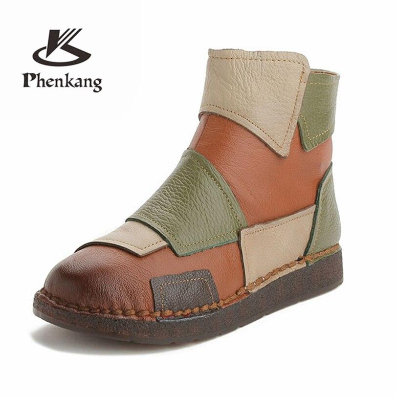1c61aa9f Reales Genuino Mano Color Hechas Moda Mixto A Mujer Plana Zapatos Casual  Botas Retro Las De Green Diseño Mujeres Phenkang Cuero xTwq6B6