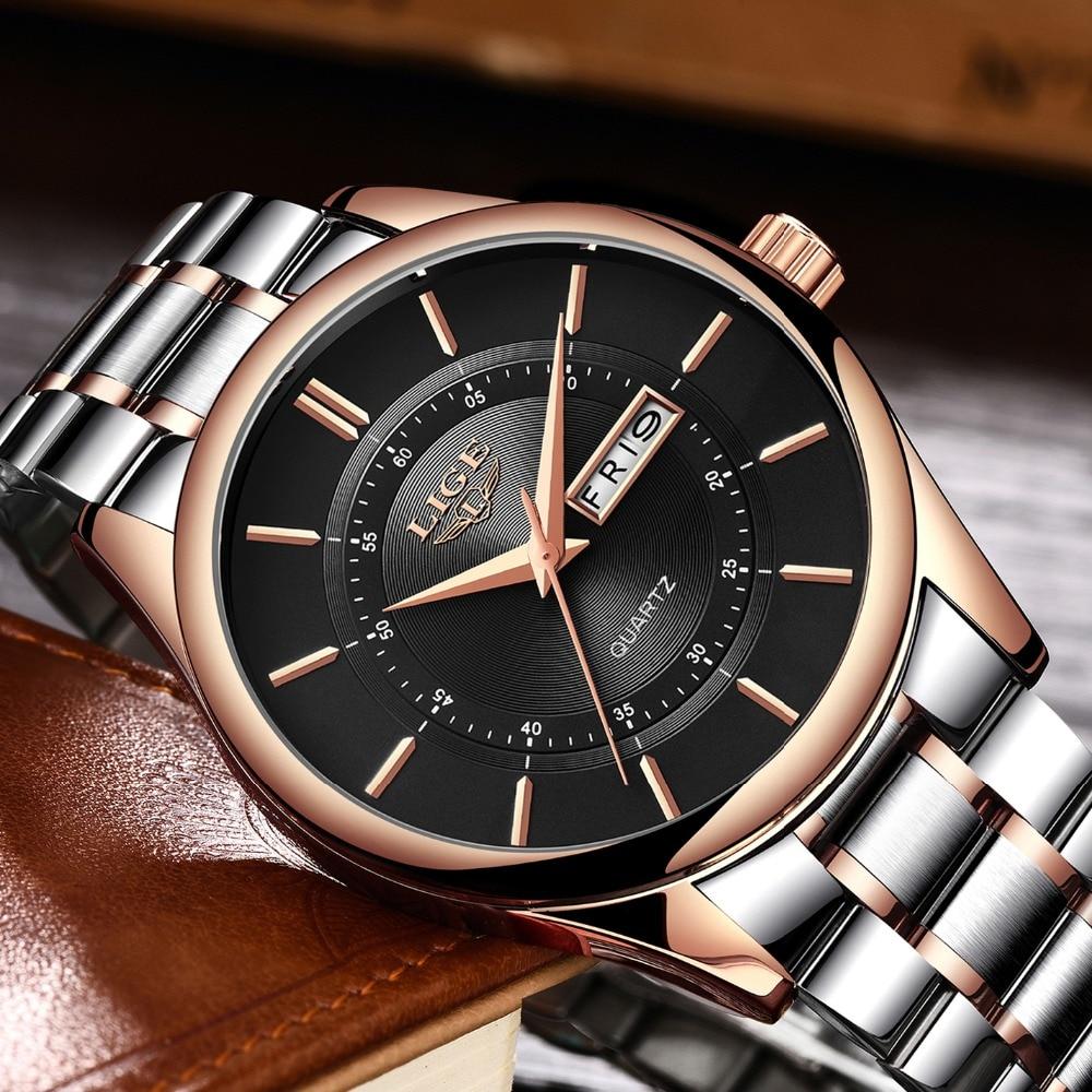 Hombres Reloj Marca LIGE Mens Simple Fashion Sport Relojes de cuarzo - Relojes para hombres