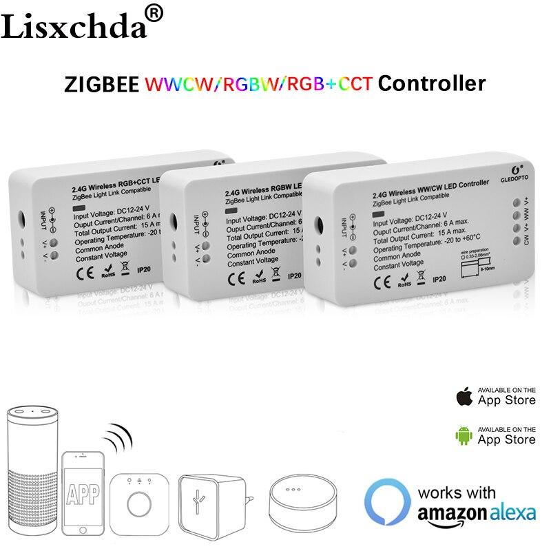 ZIGBEE Ha Condotto Il Regolatore Eco compatibile Intelligente HA CONDOTTO il regolatore RGBCCT/WW/CW zigbee LED controller Dimmer DC12-24V ZLL controller led