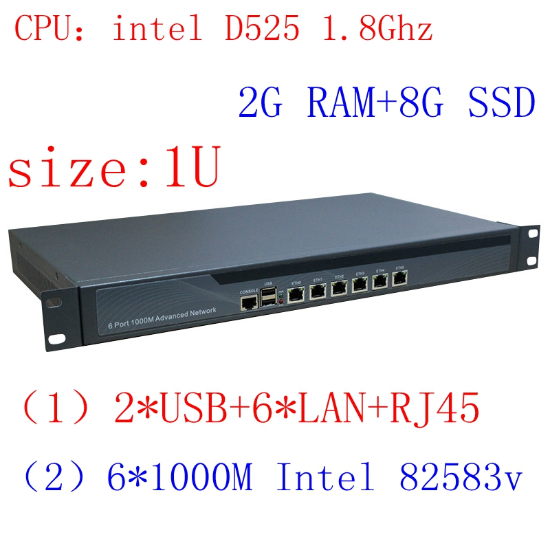1U Rankmount Intel Atom D525 Router , 6 Lan Router/firewall Networking Server,2G RAM 8G SSD