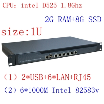 1U Rankmount Intel Atom D525 Router , 6 Lan Router/firewall networking Server,2G RAM 8G SSD