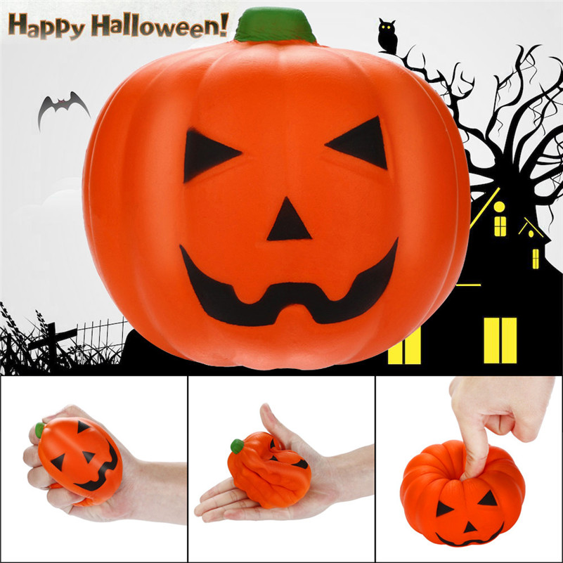 Squishies Scary Pumpkin Slow Rising Fruits Scented Stress Relief Halloween Toy Jumbo  Rising Wipes Anti-stress Toys A1