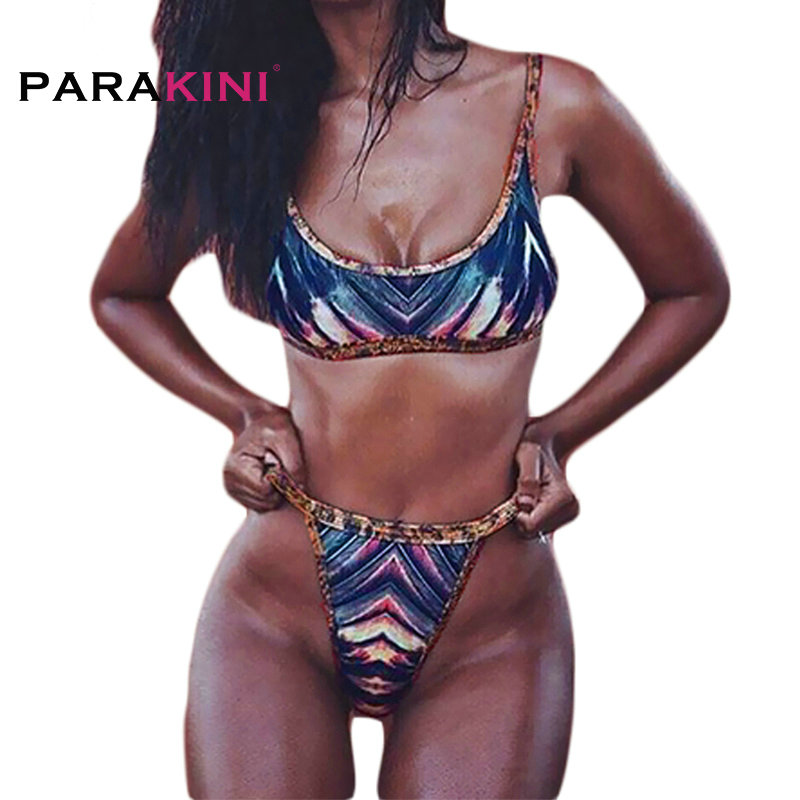 PARAKINI 2018 Brazilian Women Bikinis Set Sexy Thong Swimwear High Waist Swimsuit African Printing Swimming Bathing Suit Biquini