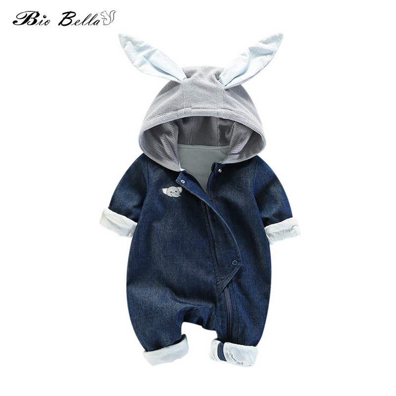 Cotton Infant Baby   Rompers   Hoodies Boys Girls Rabbit Ear Jumpsuit Long Sleeve Autumn Denim Kids Clothes Newborn Outfits Clothing