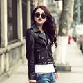 2017 New Womens Leather Biker Jacket Black Turn-down Collar Real Sheepskin Slim Fit Lady Fashion Motorcycle Coat FREE SHIPPING