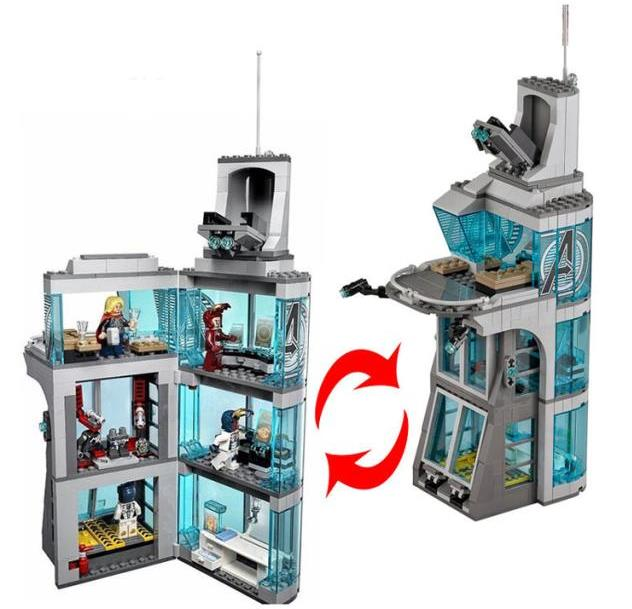 563pcs Super Heroes Attack on Avengers Tower Model Building Blocks Tony Stark Toys Brick Construction Compatible lepin toy