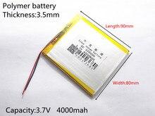 Bateria de Iões Li-ion para Tablet Três Fios Battery.3.7v 4000 Mah de Lítio Polímero Bateria PC 7 Polegada Mp3 Mp4 358090 Frete Grátis