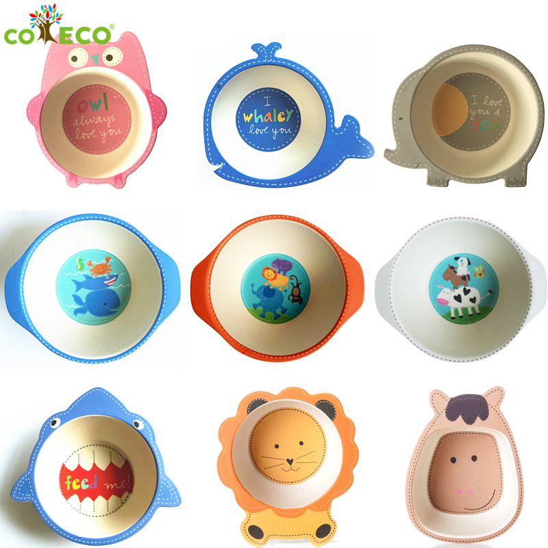 Environmental Natural Bamboo Fiber Child Bowl Baby Tableware Cartoon Dinner Tableware Christmas Gift