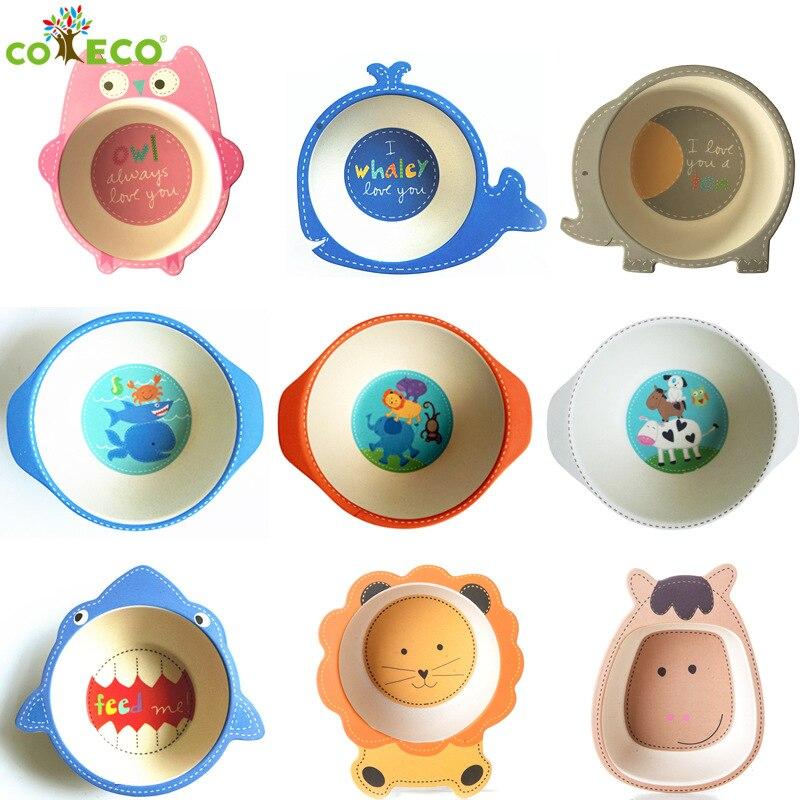 Environmental Natural Bamboo Fiber Child Bowl Baby Tableware Cartoon Dinner Tableware Christmas Gift
