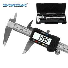 6 дюймов 0-150 мм измерительный инструмент Нержавеющая сталь суппорт цифровой штангенциркуль с нониусом из пластмассы