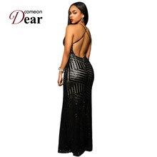 VB1033 Special Design Slit Front Sequin Dress For Party Backless V-neck Dress Party Evening Elegant Black Gold Maxi Dresses Long