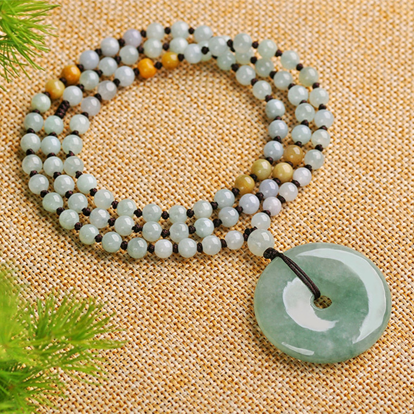 Fashion natural stone myanmar peace clasp pendant light green pendant send certificate/ 100% natural green jadeite round circle pendant bring peace 1pcs