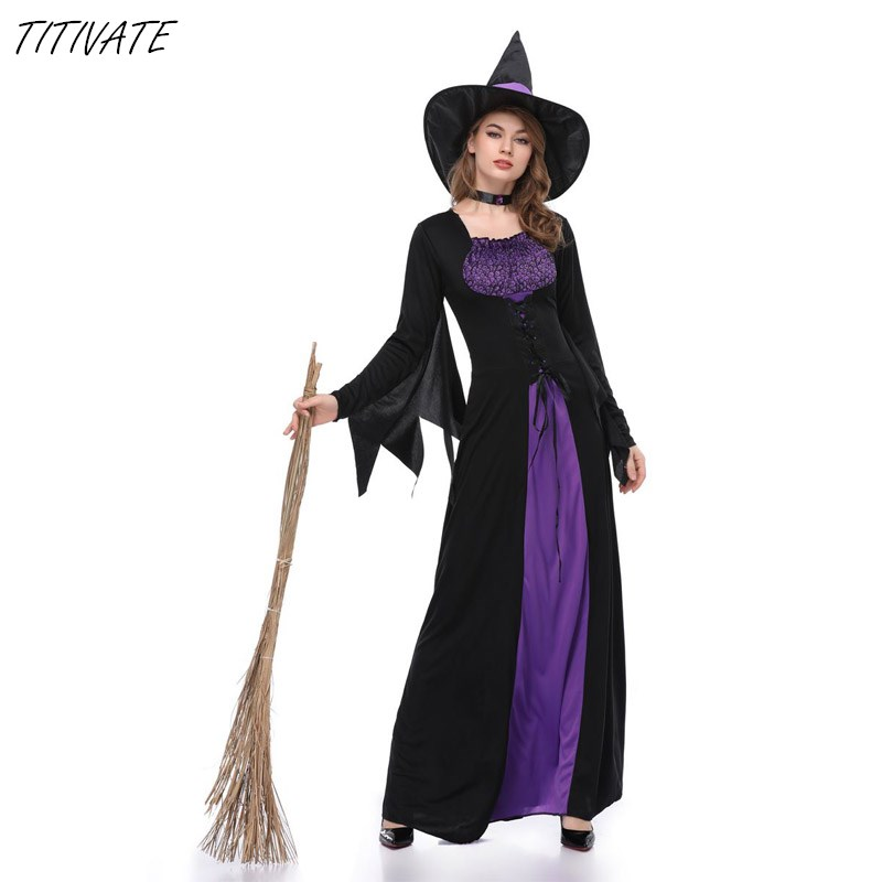 TITIVATE For M-XL Size Women Witch Devil Cosplay Costume Halloween Black With Purple Dress Carnival Party Uniform