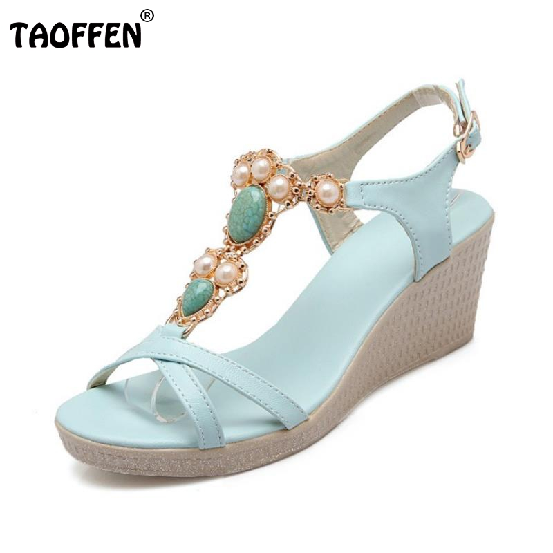TAOFFEN Female Wedges Sandals Ankle Strap Open Toe Rhinestone Shoes Women Solid Slip On Leisure All Macth Footwear Size 34-39 female wedges high heels sandals t strap shoe open toe rhinestone solid color slip on shoes women fashion footwear size 35 39