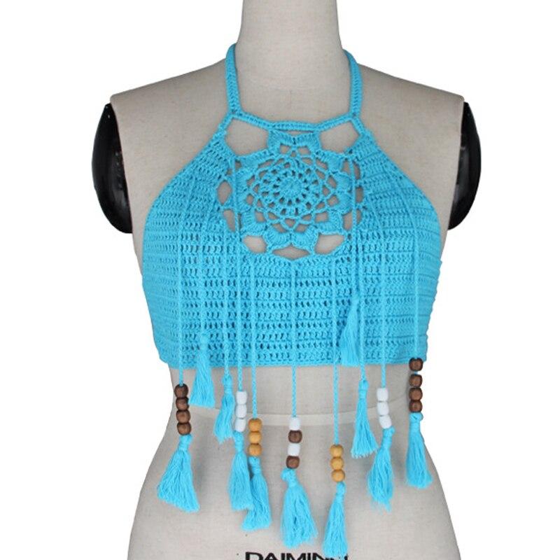 Women Vintage Crochet Crop Top Halter Cropped Summer Camisole Camis