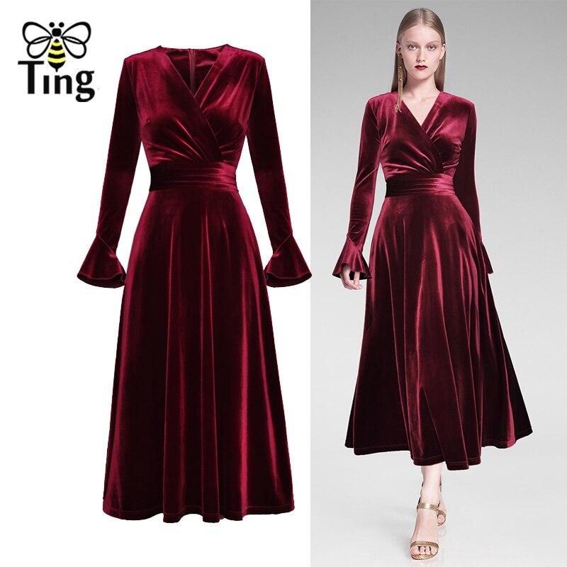 145d0dbe985 Velours Designer Robes Pleine Lady Col De Tingfly Flare Un Vingtage Midi  Picture V Longueur Piste ...