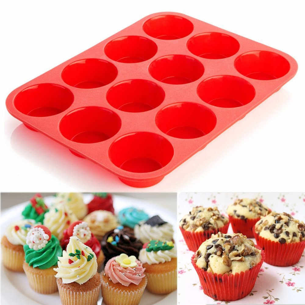 12 Cup Silicone Mold Muffin Cupcake Baking Pan Non Stick Dishwasher Microwave Safe Silicone Baking Mold #1