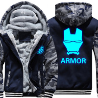 USA Size Camouflage Hoodies Men Women COMICS heros Iron Man Winter Hoodies Thicken Jacket Zipper Coat Clothing