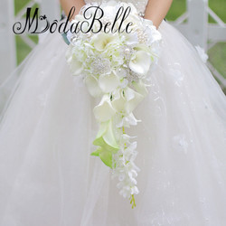Modabelle white waterfall wedding flowers bridal bouquets buque de noiva pearls crystal wedding bouquets 2017 bouquet.jpg 250x250