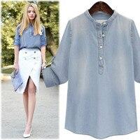 Hodisytian Autumn New Fashion Women Denim Shirts Casual Stand Collar Loose Blouse Long Sleeve Blusas Camisa Femme Plus Size Blue