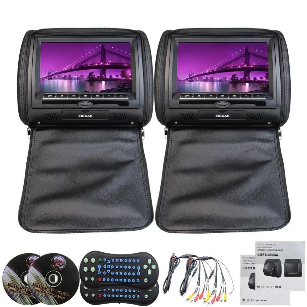 9 черный цвет кожа пара автомобиля подголовник Подушка подголовник монитор Пульт дистанционного управления USB/SD встроенный ИК fm передатчик