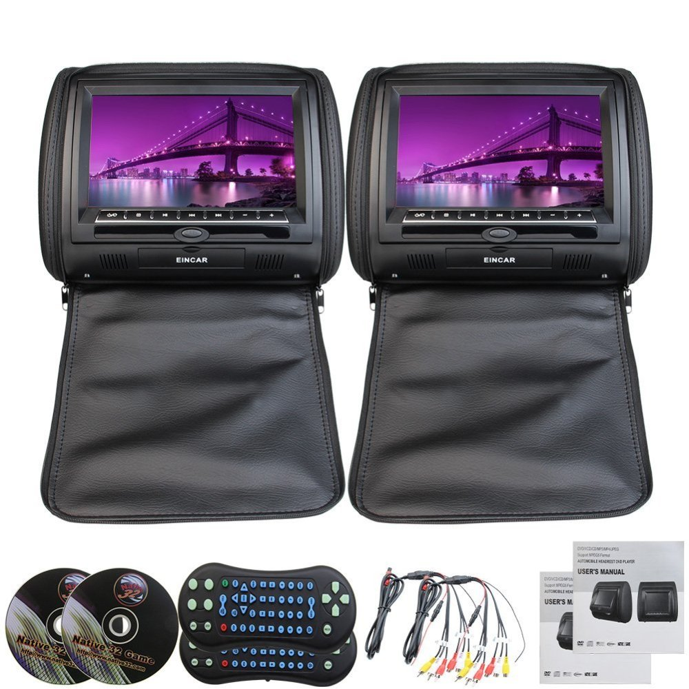 9 Black Color Leather Pair of Car Headrest Pillow Headrest Monitor Remote ControlUSB/SD Built in IR FM Transmitter 32 Bit Games