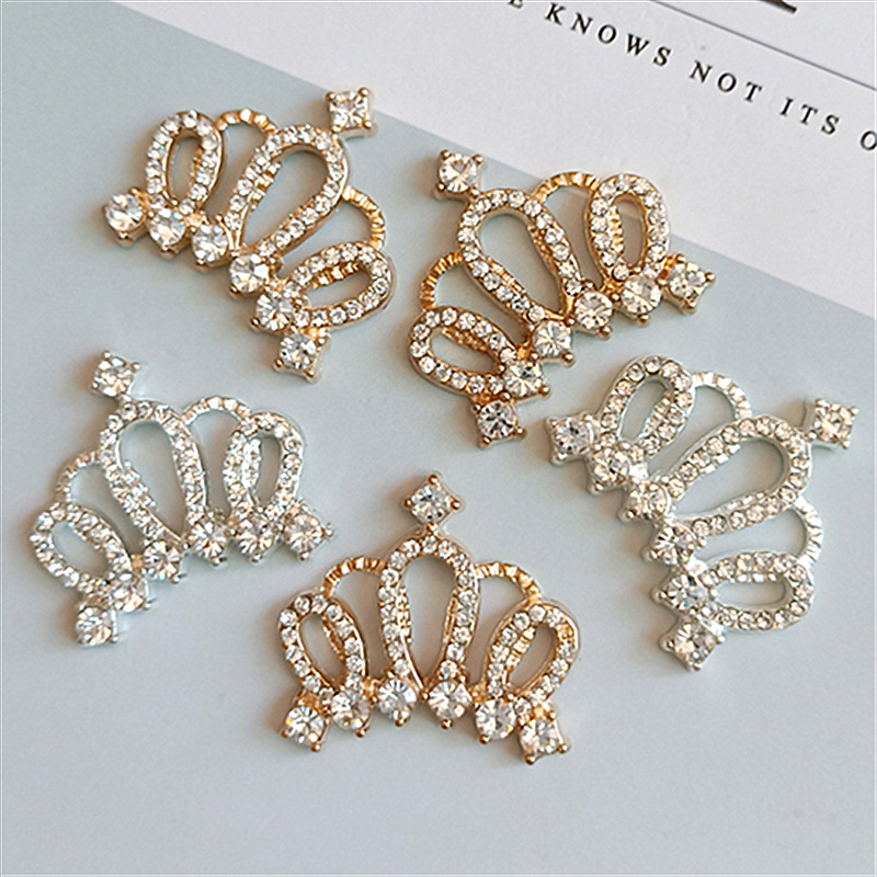 10pcs Crown Rhinestone Flatback Buttons for Scrapbooking DIY Kids Headband
