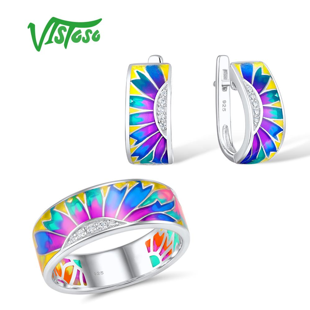 VISTOSO Jewelry Set HANDMADE Colorful Enamel White CZ Stones Ring Earrings 925 Sterling Silver Women Fashion Jewelry SetVISTOSO Jewelry Set HANDMADE Colorful Enamel White CZ Stones Ring Earrings 925 Sterling Silver Women Fashion Jewelry Set