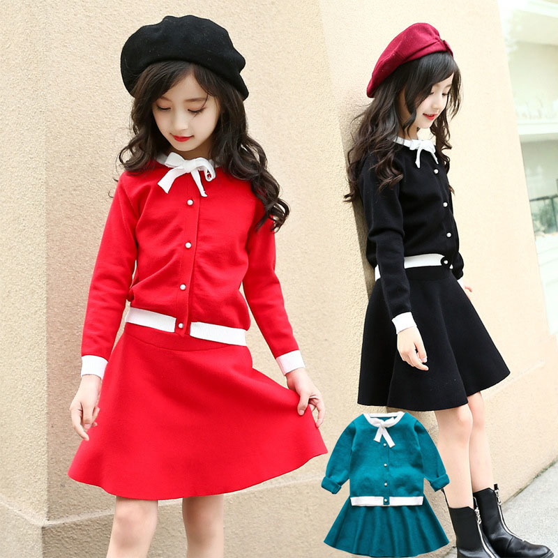 knitting kids clothes tops skirts sets autumn spring 2018 school clothing for girls knit sweater skirts little teenage girl sets