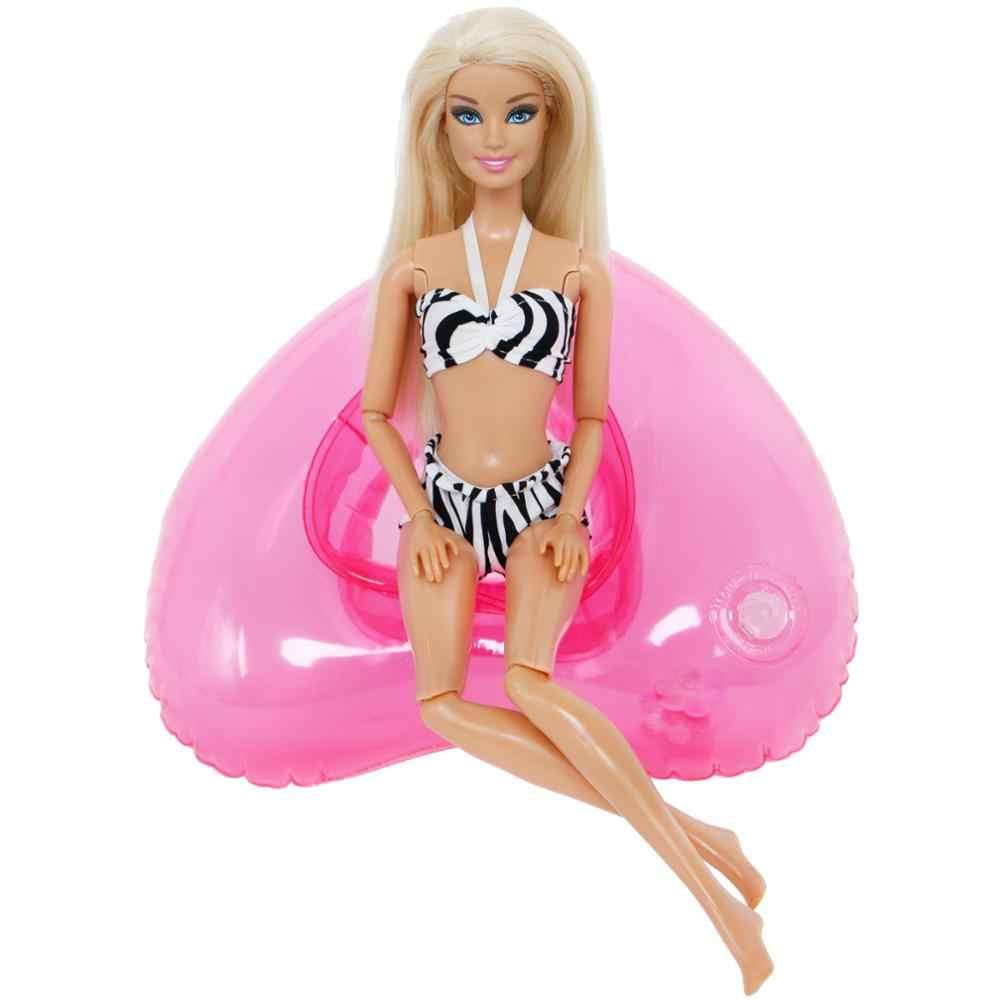 2 Pcs/lot = 1x Hitam Putih Baju Renang Musim Panas Pantai Bikini + 1x Pink Ring Lifebuoy Aksesoris Pakaian untuk Boneka Barbie DIY Mainan