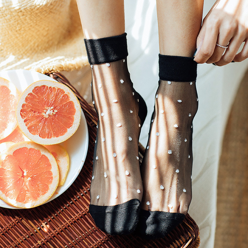 Women Socks 1 Pair 2019 Summer New Color Women Fashion Short Dots Sexy Socks For Women Breathbale Transparent Korean Style