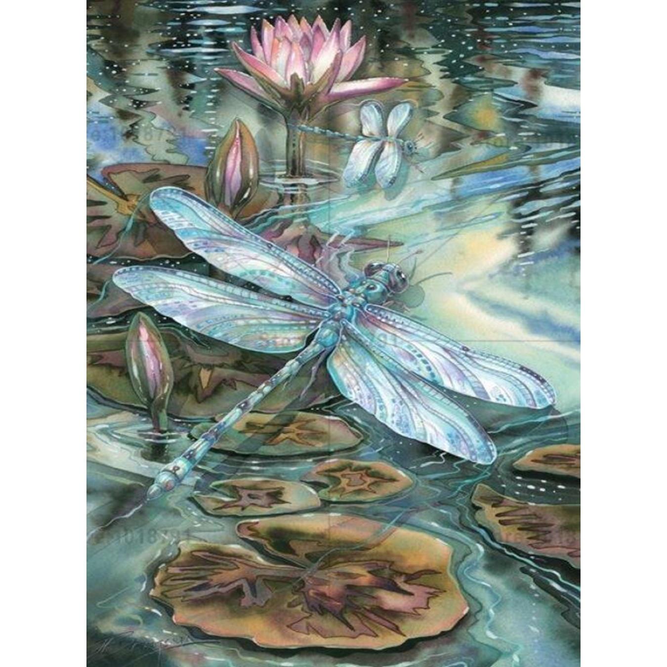 YTG New 5D DIY Full Round Rhinestone Needlework Embroidery Lotus Flower Diamond Painting Cross Stitch Room Decoration Gift