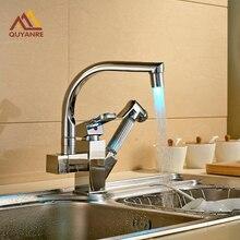 LED Поворотным Изливом Кухня Раковина Кран Pull Out Спрей Руку Одно Отверстие Смесителя