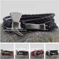 LOW0226LB 2015 New Design Personalized Hammer With Hatchet Leather Bracelet For Women Men Wedding Accessories Gift Free Shipping