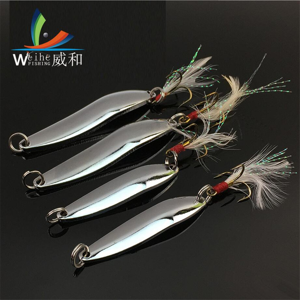 1Pcs Artificial Lure Bait Metal VIB Willow-shaped Band Bending Curvature Sequined Iron 5/7/10/13/18/21G Tied Hair Fishhook Bait