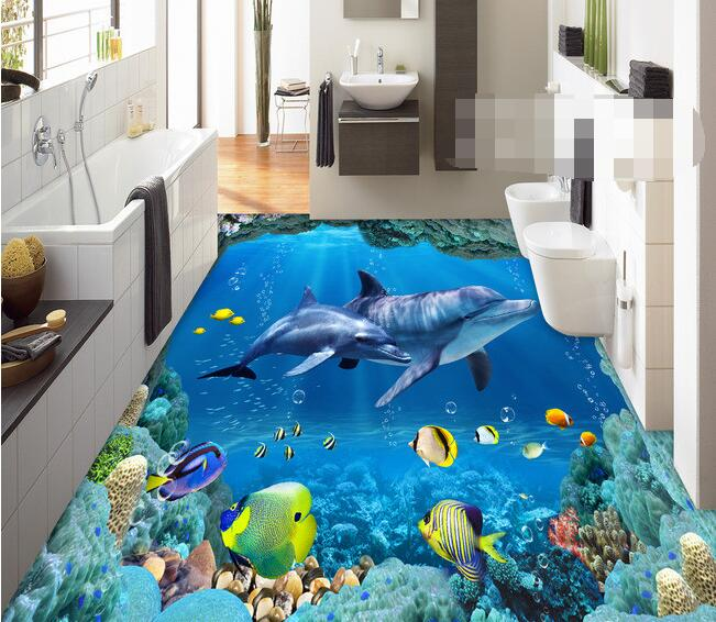 3d wallpaper custom waterproof  3d flooring pvc Sea World Dolphin of  3d flooring wallpaper  photo 3d wall murals wallpaper fashion long curly hair wigs gold black