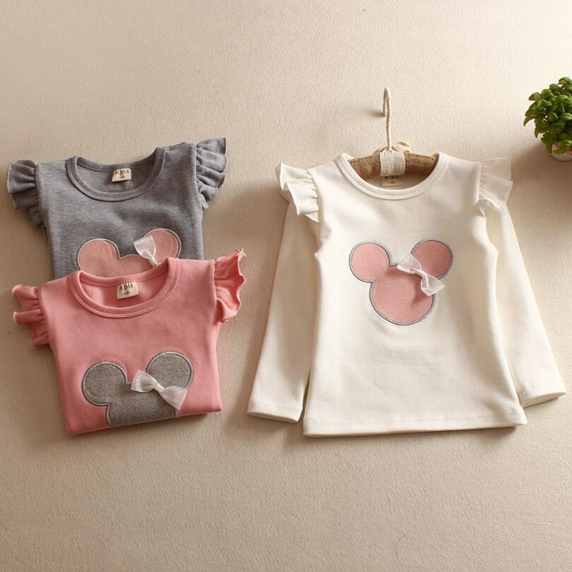 все цены на Children's T-Shirt Spring Autumn 100% Cotton Minnie Mouse Cotton Kid's Render Shirt Baby Girls Clothing Soft Long Sleeve Tops