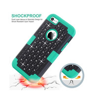 LD For Apple Iphone 5C Case Hybrid With Diamond Impact Hard Rugged Rubber Silicone Plasic Cover