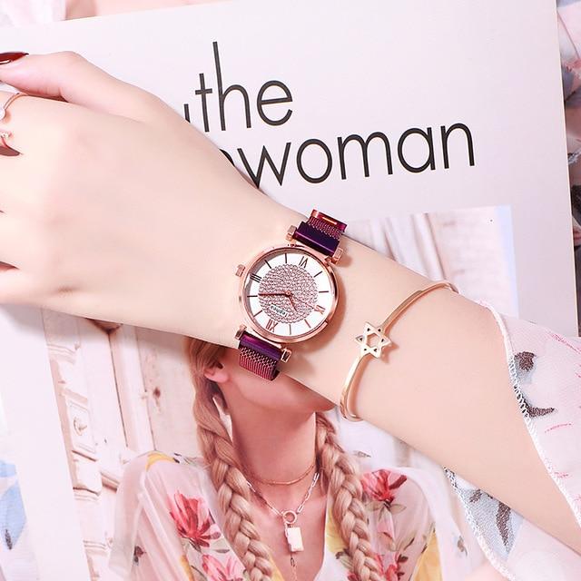 Women Magnetic Buckle Watch 2019 Luxury Brand Diamond Women Bracelet Wrist Watch For Ladies Wrist Watch Female Relogio Feminino 5