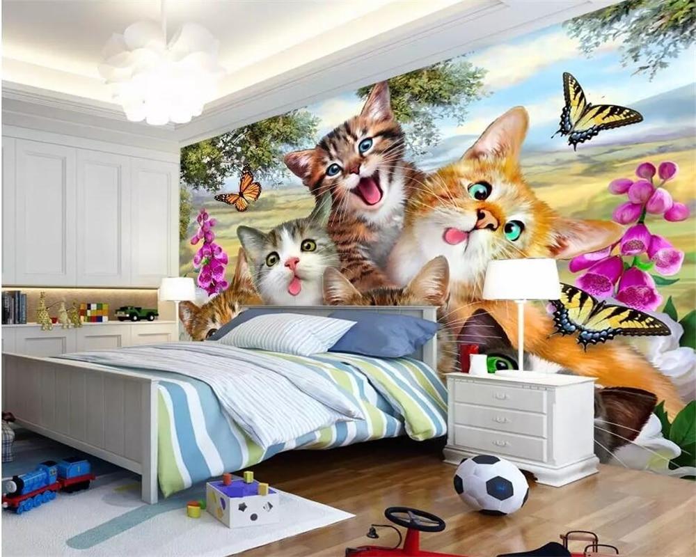 US $8 85 OFF Beibehang Custom Photo Wallpaper 3D Mural Wallpaper Cute Cartoon Grass Cat Self Portrait Like Children Room Background Mural Custom