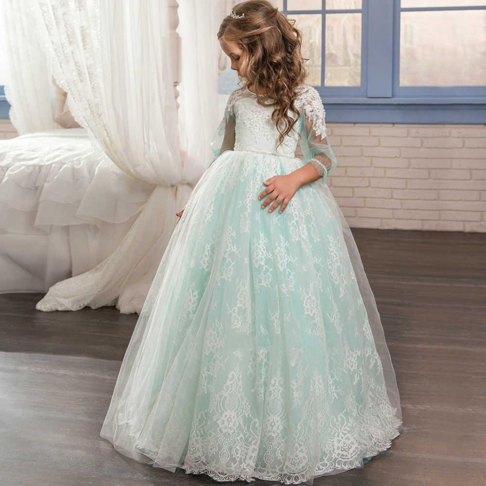 Vestidos Da Menina de flor Formais Apliques O-pescoço Mangas Compridas vestido de Baile Sheer Lace Primeira Comunhão Vestidos Pageant