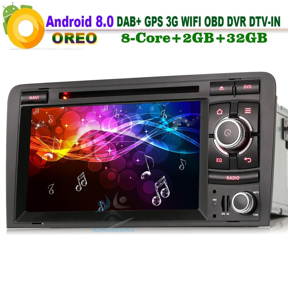 Android 8.0 DAB + Wifi 3G DVD DVR Bluetooth CD RDS OBD Sat Navi DTV-IN unité de tête BT lecteur d'autoradio pour AUDI A3 S3 RS3 RNSE-PU