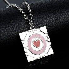 Dongsheng esmalte coração colar 3d jogo portal2 pingente nmucho portal colar 2 companheiro cubo instrução colar feminino