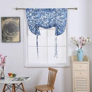 Image 3 - Nodic Phong Cách Hoa Màu Xanh In Màn Rèm cho Phòng Khách Kid Phòng Ngủ Nhà Cửa Trang Trí Cửa Sổ Nâng Rèm Rắn Hot