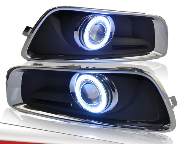 eOsuns Innovative COB angel eye led daytime running light DRL + halogen Fog Light + Projector Lens for chevrolet malibu 2012-14 eosuns cob angel eye led daytime running light drl fog light projector lens fog lamp cover for audi q5 2009 13 2pcs