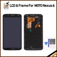Ограниченное предложение Оригинальный ЖК-дисплей Экран для Motorola Moto Nexus 6 xt1100 xt1103 ЖК-дисплей Дисплей Сенсорный экран с Рамки дигитайзер Ассамблеи + инструмент