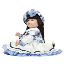 55cm silicone baby reborn long hair / baby toys doll toy smile dolls for girls toys for children bonecas brinquedos lovely cute doll 22 inch 55cm silicone reborn dolls babies real sleeping reborn baby bonecas children toys brinquedos menina