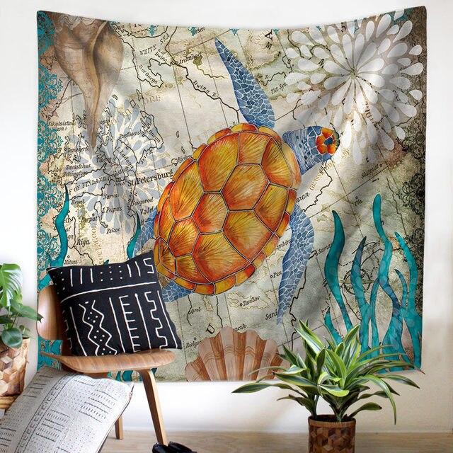 ים התיכון בעלי החיים בת ים שטיח מקרמה קיר תליית חוף מגבת יושב שמיכת חווה Boho בית דקור ראש המיטה