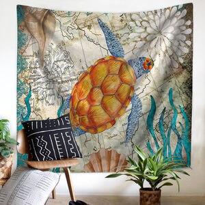 Image 1 - Akdeniz deniz hayvan Mermaid goblen makrome duvar asılı plaj havlusu oturma battaniye çiftlik evi Boho ev dekor başlık